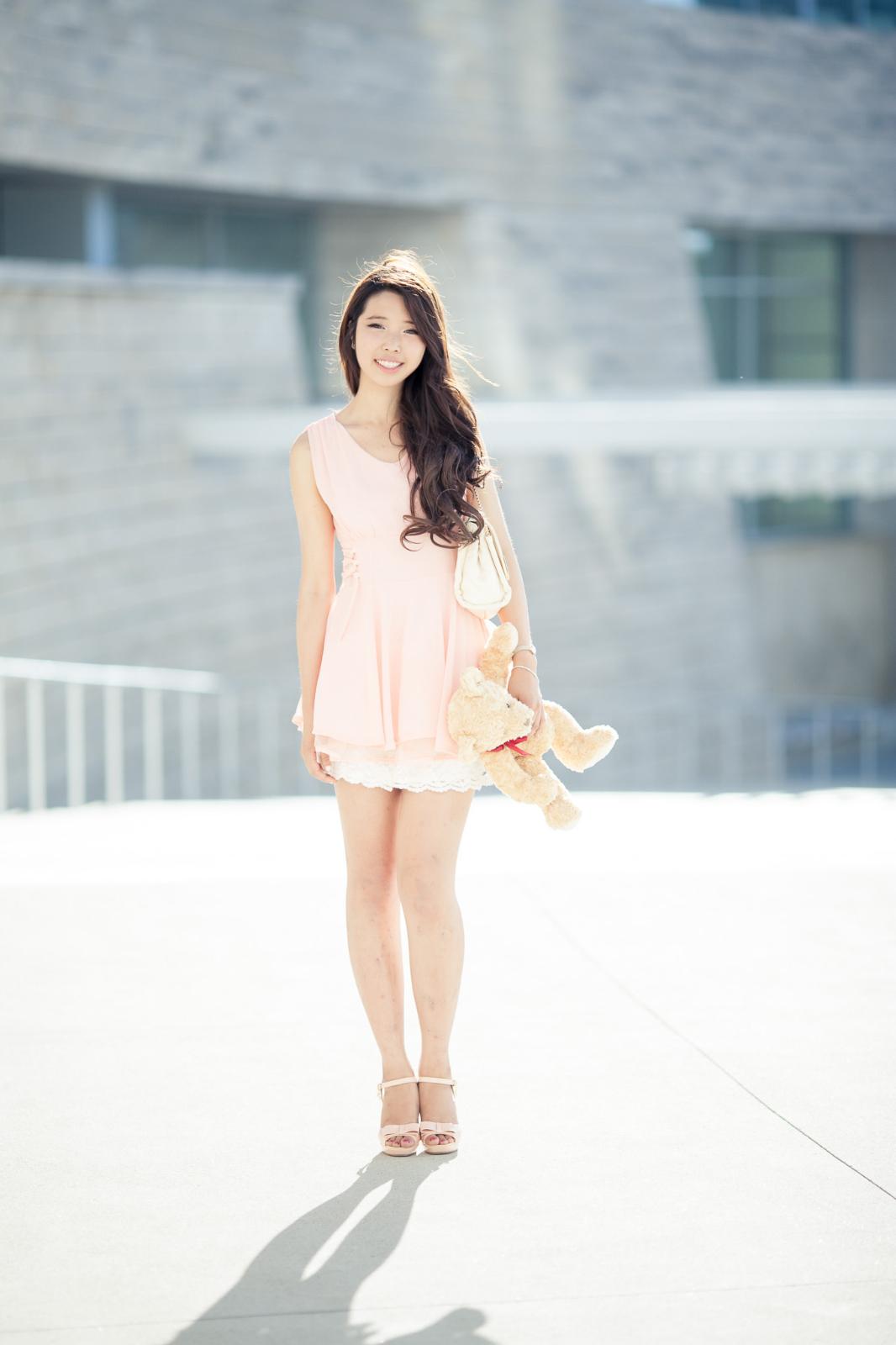 Girl walking in heels on rail track - 5 4