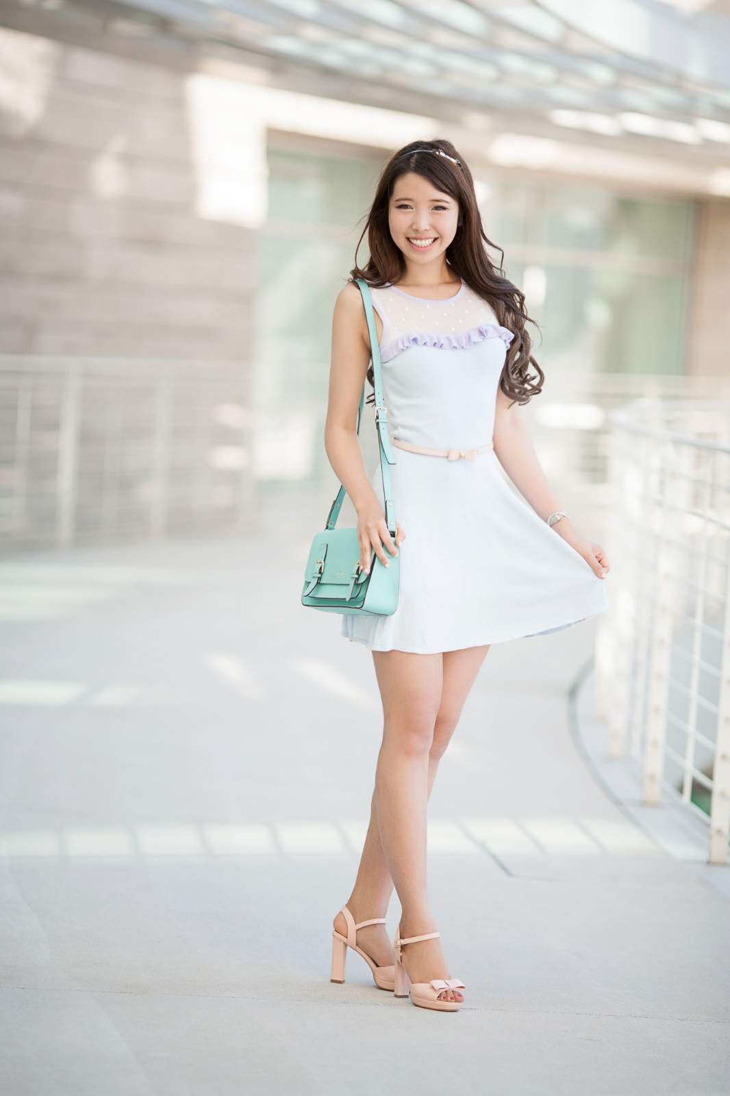 pastel dress lavender periwinkle shanghai curly hair asian girl