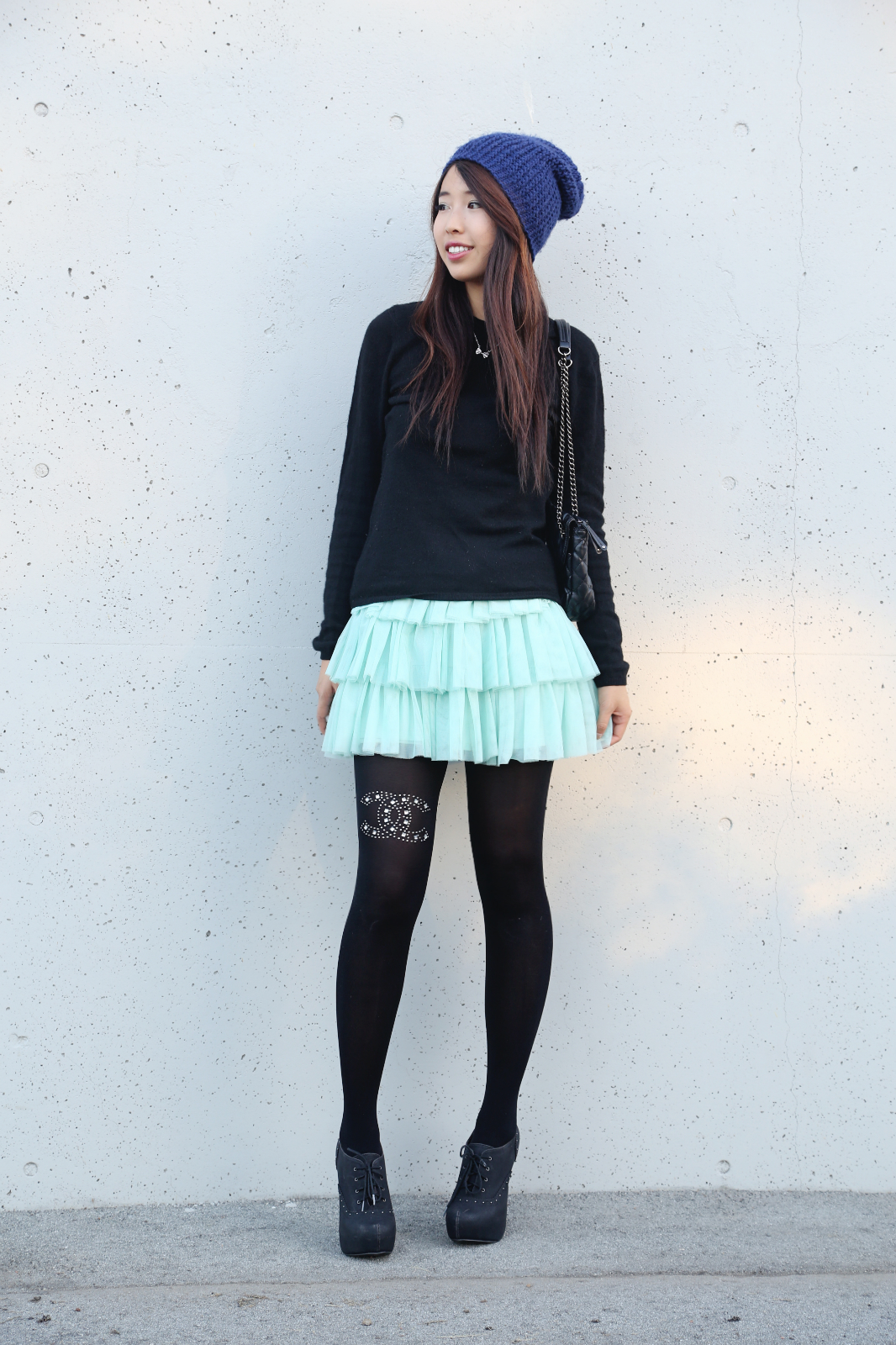 chanel, embellished, tights, chic, edgy, cool, ulzzang, asian, girl, cashmere, sweater, teal, seqiuns, tutu, aquamarine, unique, charisma c, tights, wraphilosophy, anainspirations, skater, punk, cute, adorable, hairstyle, beanie, teen, girl, pretty, korean, chinese, japanese, style, ootd, outfit, dress, kawaii, ally gong,