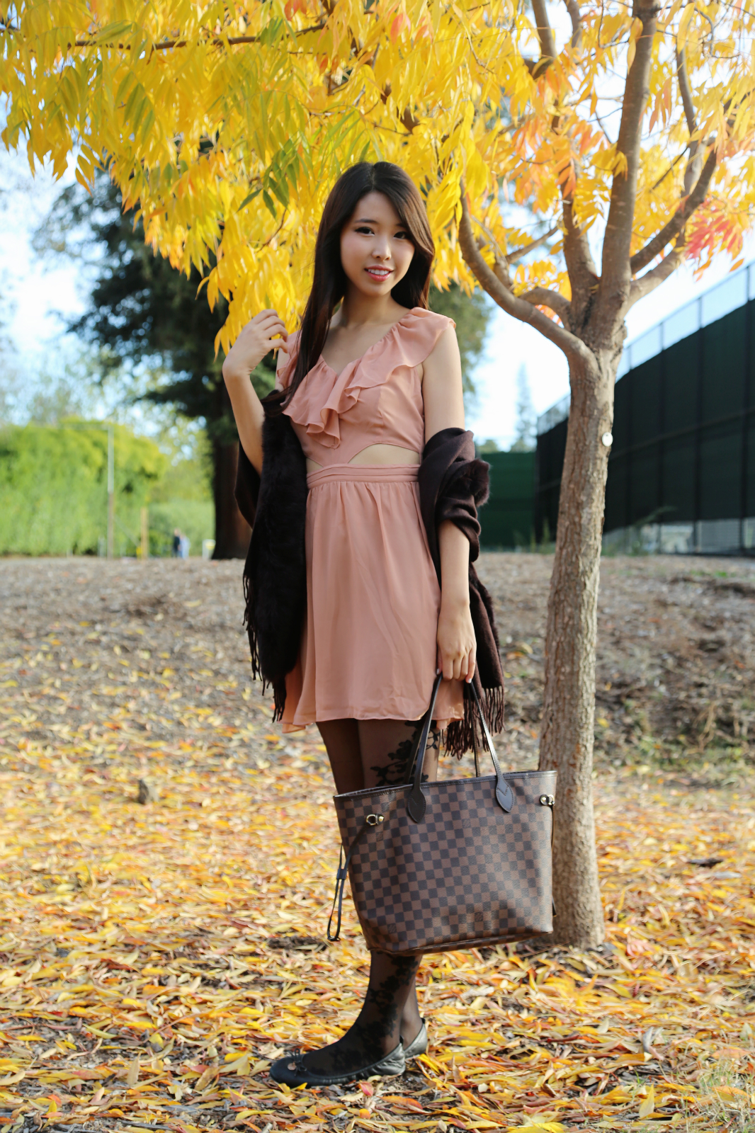 ally gong, autumn, mink, stole, shawl, wrap, wool, brown, louis vuitton, neverfull, shanghai, pretty, asian, girl, palo alto, gunn high school, beautiful, fall, leaves, writing, memoir, glamour, classic, classy, dusty rose, sweet, girly, feminine, outfit, ootd, fashion, style