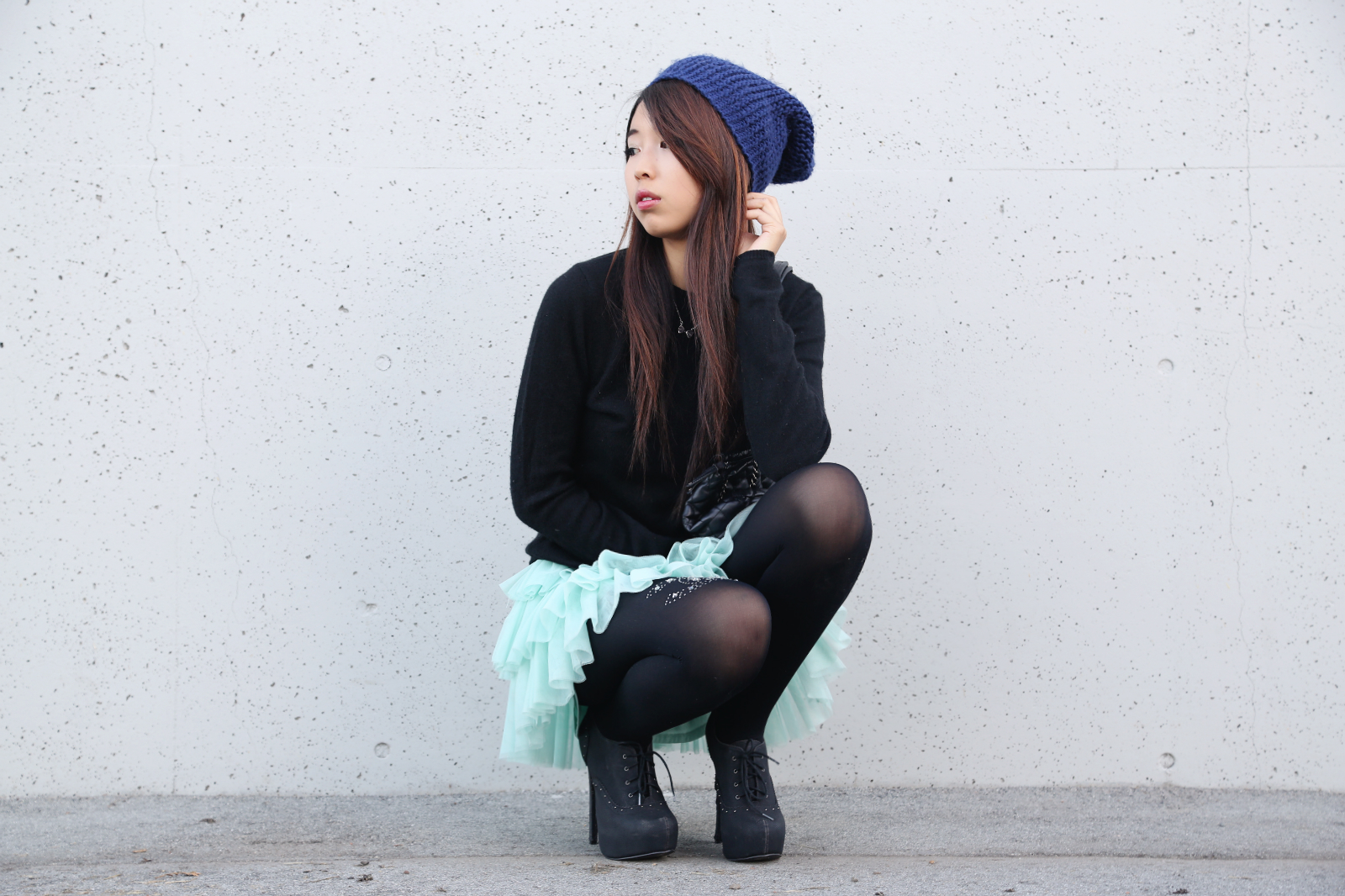 chanel, embellished, tights, chic, edgy, cool, ulzzang, asian, girl, cashmere, sweater, teal, seqiuns, tutu, aquamarine, unique, charisma c, tights, wraphilosophy, anainspirations, skater, punk, cute, adorable, hairstyle, beanie, teen, girl, pretty, korean, chinese, japanese, style, ootd, outfit, dress, kawaii, ally gong, tights,