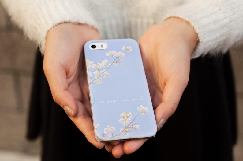 ally gong phone case gift caseapp sakura japanese shoujo manga tumblr kawaii cute blue sky sora white cherry blossoms customized phone case