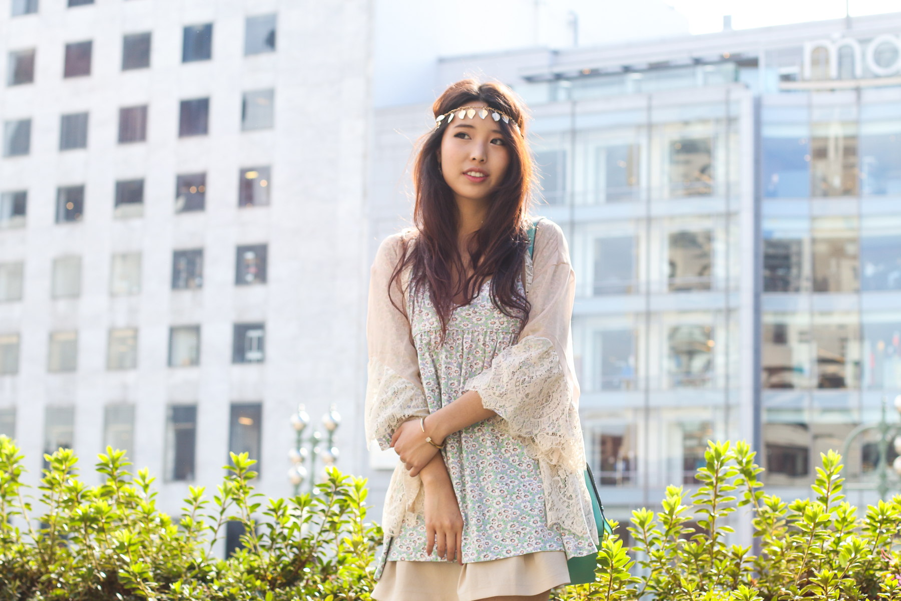 gold leaf bohemian girl with the blog