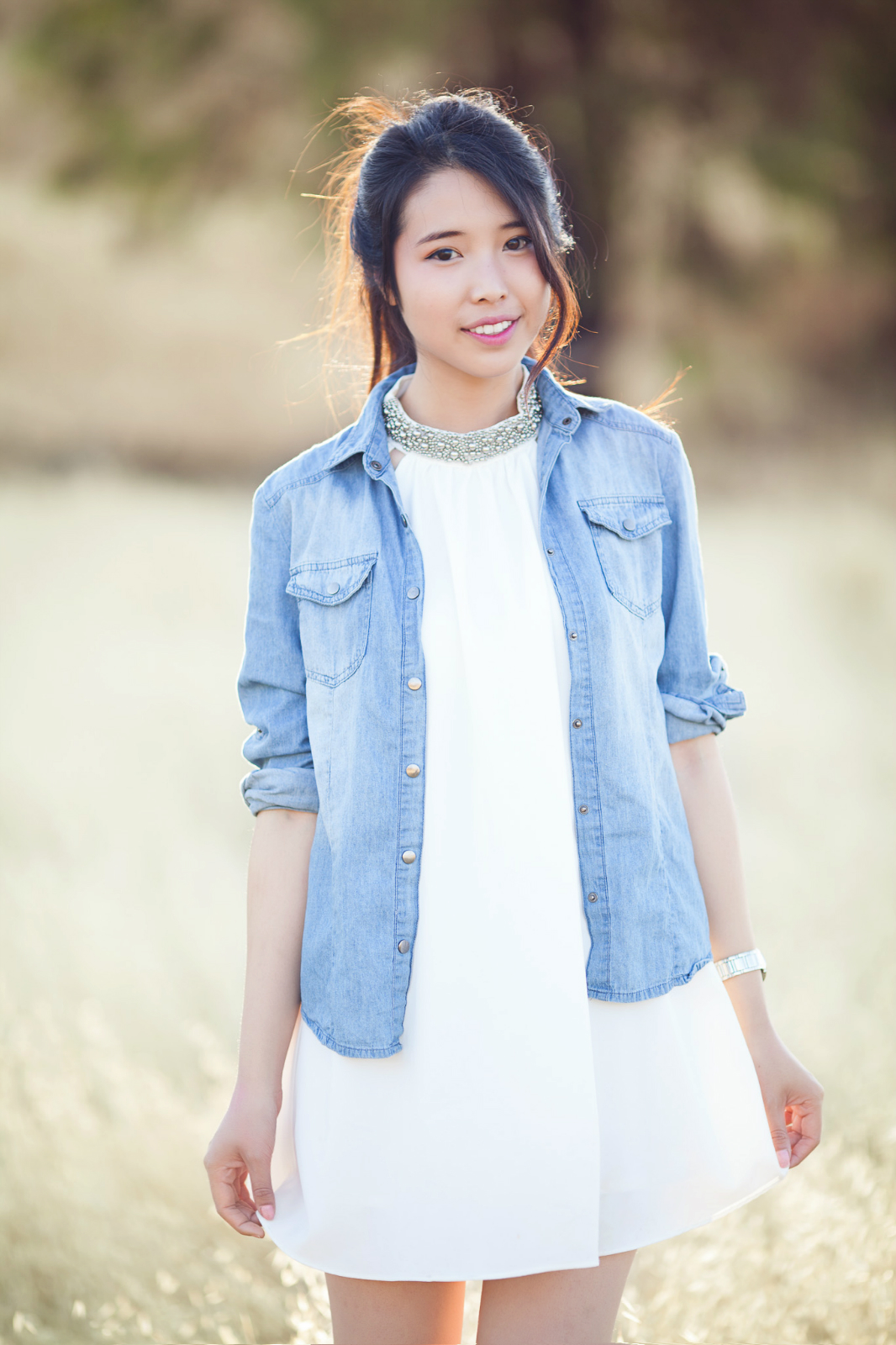 Ally Gong Tobi Photoshoot White Chiffon Dress Blue Denim Shirt Asian