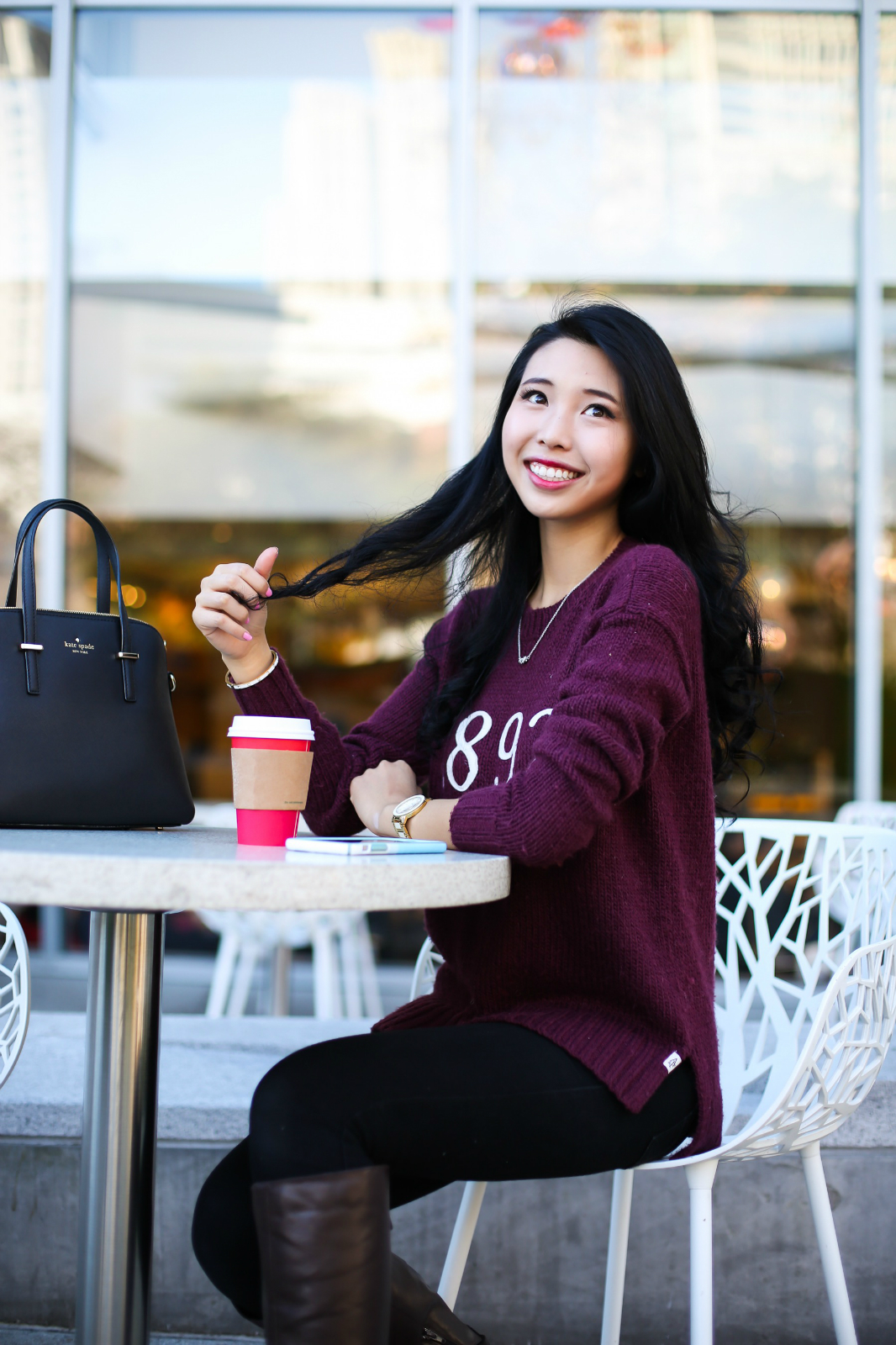 asian girl coffee cafe cute smiling happy black hair chinese korean chic sleek beautiful table drink model san francisco starbucks