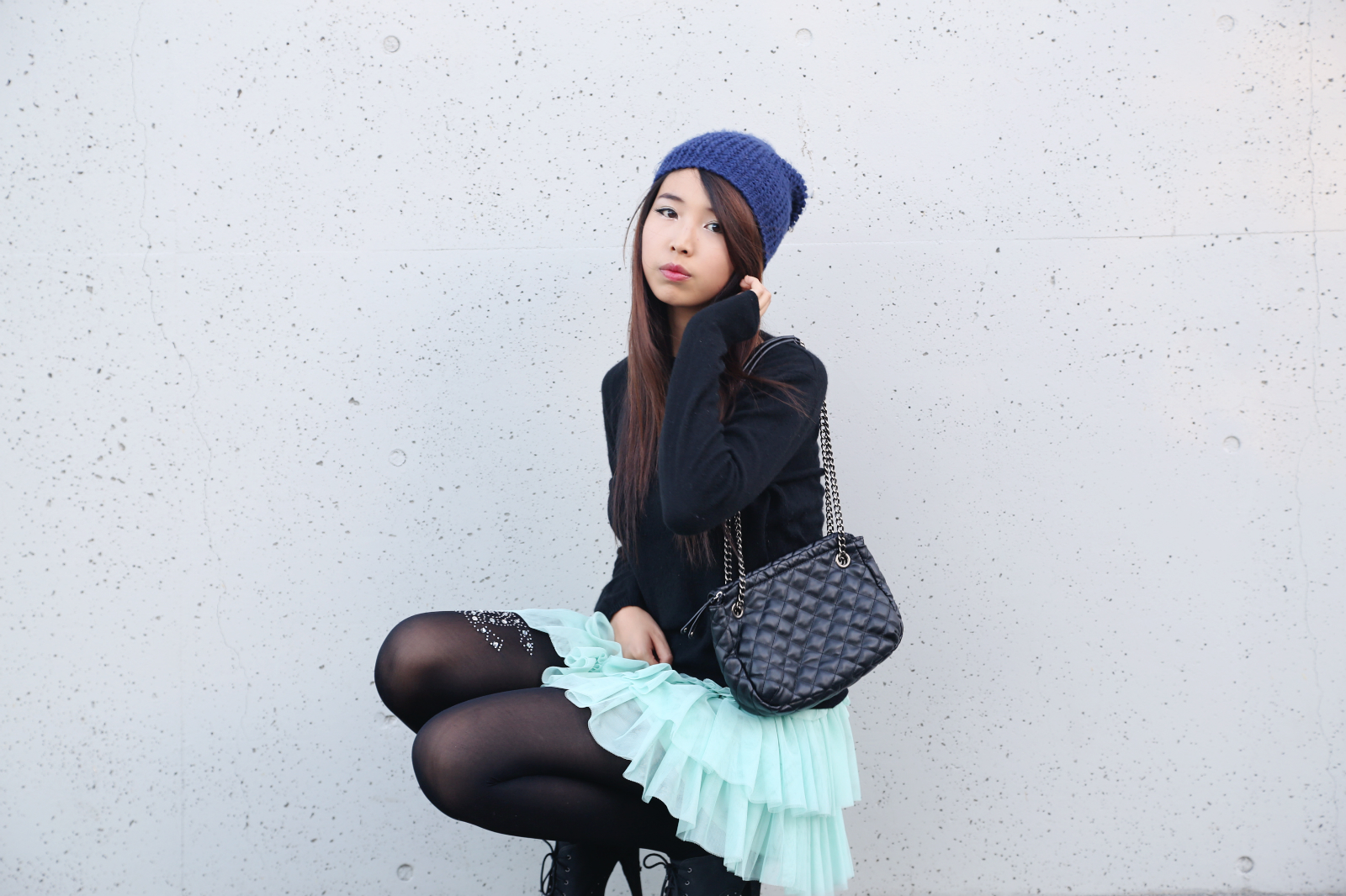 tights ulzzang asian cute japanese aquamarine gong pose chinese teen pretty adorable pouty tutu sweater club allygong outfits ally kawaii